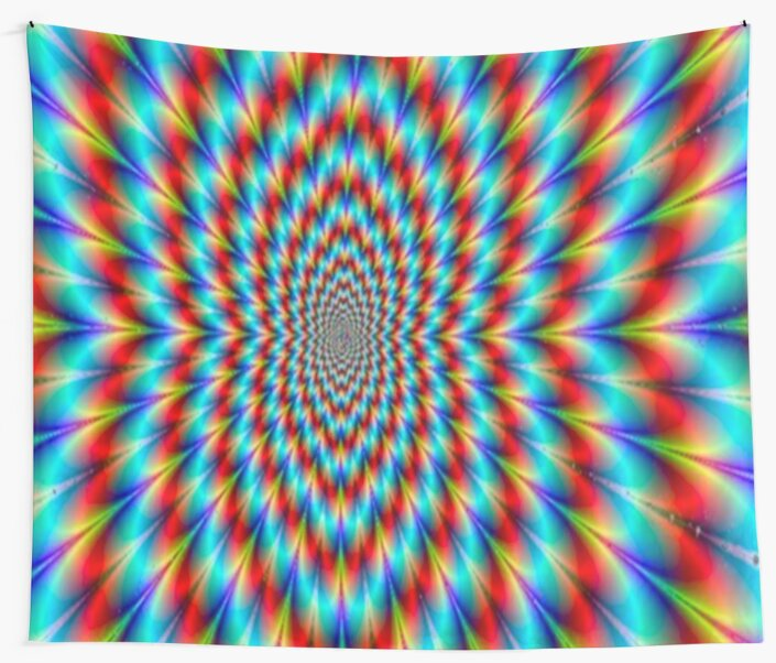 Psychedelic Optical Illusion Rainbow Pattern Wall Tapestries By Interesting Rainbow Pattern