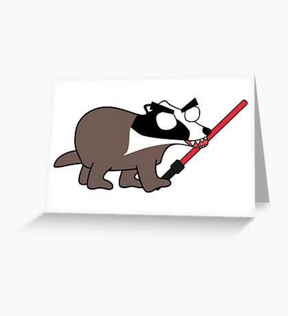 herbert, the angry zombie badger on the dark side Greeting Card