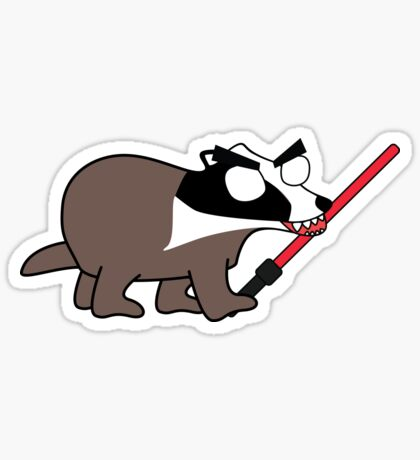 herbert, the angry zombie badger on the dark side Glossy Sticker