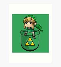 Pocket Link Hero of Time Zelda with Triforce Art Print