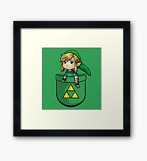 Pocket Link Hero of Time Zelda with Triforce Framed Print