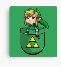Pocket Link Hero of Time Zelda with Triforce Canvas Print