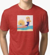 Cute chic on the beach. Stylized water and sun behind the girl Tri-blend T-Shirt
