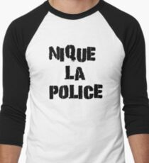 Fuck The Police Classic French Movie Quotes Rap Song Lyrics T-Shirts Men's Baseball ¾ T-Shirt