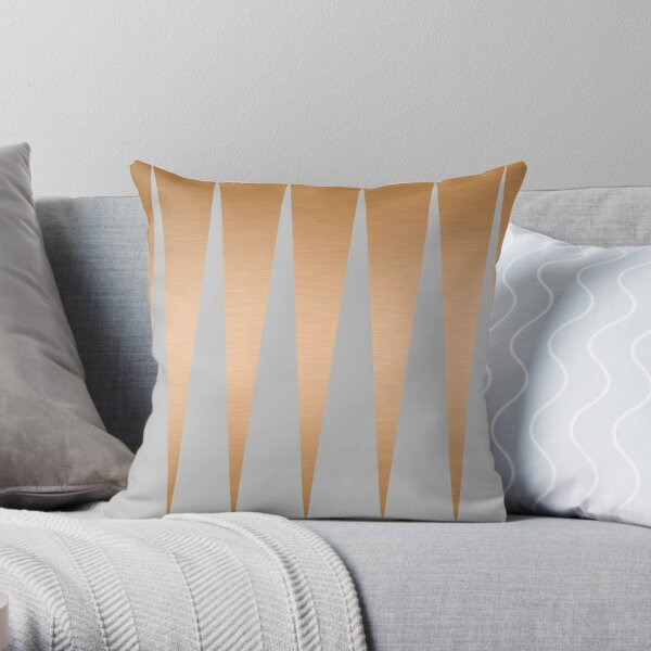 Shiny Copper Grey Spike Throw Pillow