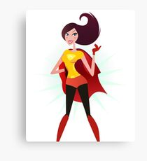 Sexy superhero in red costume. Superwoman in red cape Canvas Print
