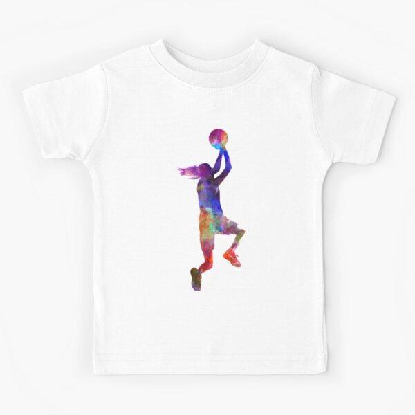 young woman basketball player 05 Kids T-Shirt