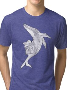 Pencil Humpback Whale  Tri-blend T-Shirt