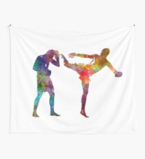 Two men exercising thai boxing silhouette 01 Wall Tapestry