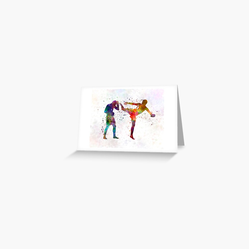Two men exercising thai boxing silhouette 01 Greeting Card