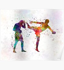 Two men exercising thai boxing silhouette 01 Poster