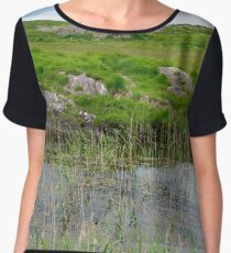 river reeds and lake on the kerry way Chiffon Top