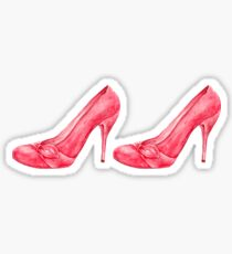 Red high heel women shoes. watercolor Sticker