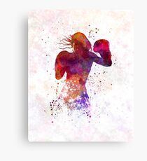woman boxer boxing kickboxing silhouette isolated 02 Canvas Print