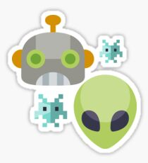 Alien Robot Space Game Icon Sticker