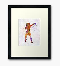 Woman boxer boxing kickboxing silhouette isolated 03 Framed Print