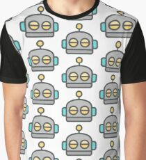 Robot Face Emoticon Graphic T-Shirt