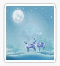 Snowy Winter Scene  Reindeer Animal Sticker