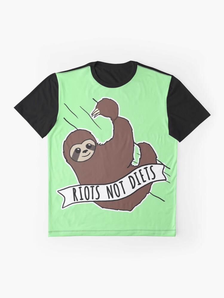 """Alternative Ansicht von Feminist Sloth """"Riots Not Diets"""" Anti-Diet Sloth Grafik T-Shirt"""