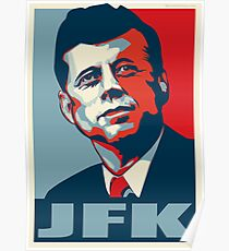 JFK Shepard Hope Style Poster (Red Blue) Poster