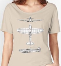 British, Supermarine, Spitfire, Supermarine, Spitfire,  Fighter, WWII, 1942, Fighter, WWII, 1942, on GREY Women's Relaxed Fit T-Shirt