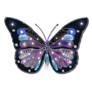 Colorful Black Blue Butterflies by LittleCsDesigns