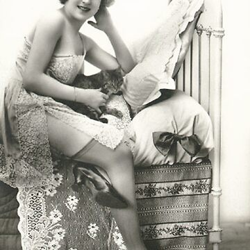 A vintage photo of a Lady Sitting on her bed by ClassicNudes