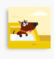Happy brown dog travel in the car. VECTOR ILLUSTRATION Canvas Print