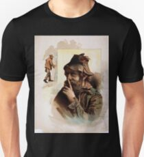 Performing Arts Posters Half length image of bearded tramp in hat touching finger to nose with full length image of same tramp to the left 1550 T-Shirt