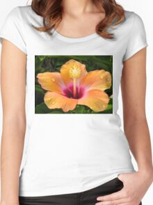 Orange hibiscus and dew drops Women's Fitted Scoop T-Shirt