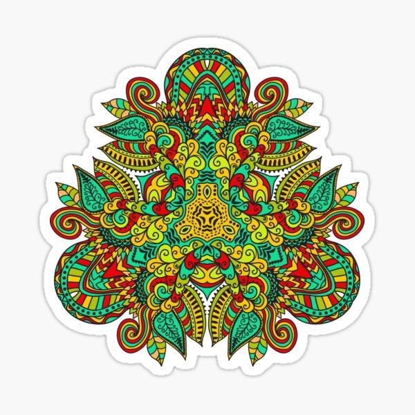 Mandala in triangle, autumn leaves Sticker