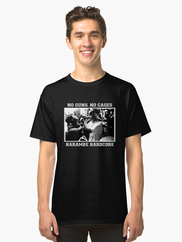 Harambe Hardcore - White Text Classic T-Shirt Front