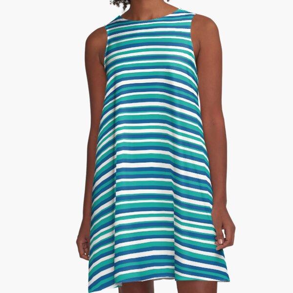 Blue Teal and White Irregular Horizontal Stripe Pattern A-Line Dress