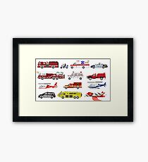 Emergency Vehicles - The Kids' Picture Show - 8-Bit Framed Print