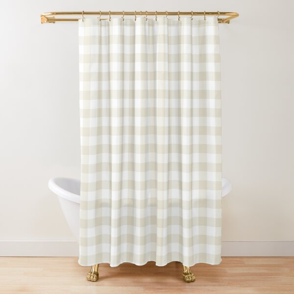 Beige and White Buffalo Plaid Pattern - Hue Coordinates w/Pantone Baby's Breath 11-0202 2022 Trending Color Shower Curtain