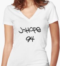 BTS-Jhope 94 [White] Women's Fitted V-Neck T-Shirt