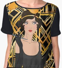 Art deco,gold,black,flapper girl,The Great Gatsby,1920 era,vintage,elegant,chic,modern,trendy Chiffon Top