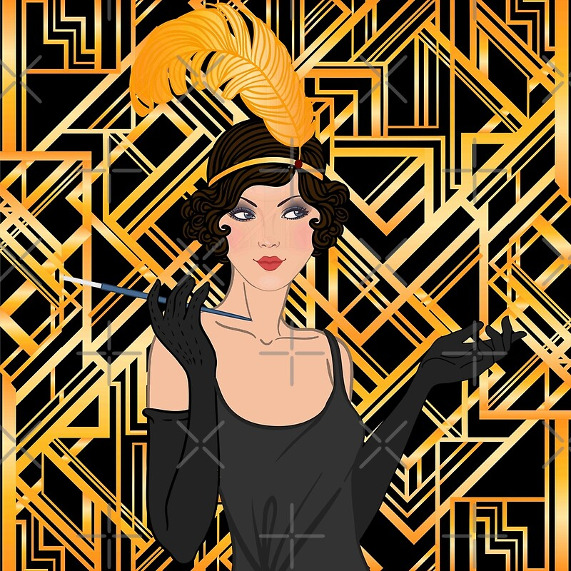 art deco gold black flapper girl the great gatsby 1920 era vintage elegant chic modern trendy. Black Bedroom Furniture Sets. Home Design Ideas