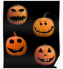 Halloween pumpkins on black Poster