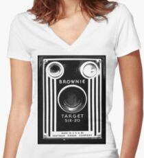Vintage Kodak Brownie Camera Women's Fitted V-Neck T-Shirt