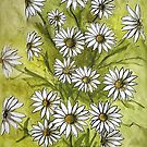 Happy Daisies Ink and Watercolor Painting by DianePalmerArt
