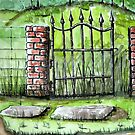Old Iron Gate Ink and Watercolor Painting by DianePalmerArt