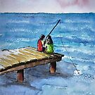 Kids Fishing Off the Dock Ink and Watercolor Painting by DianePalmerArt