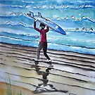 Surf is Up Ink and Watercolor Painting by DianePalmerArt