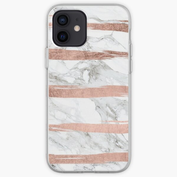 Modern chic faux rose gold brush stripes white marble iPhone Soft Case