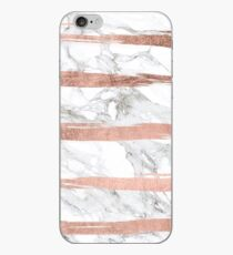 Modern chic faux rose gold brush stripes white marble iPhone Case