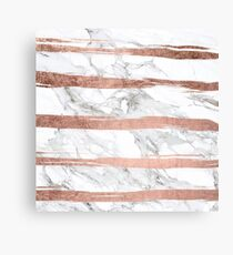 Modern chic faux rose gold brush stripes white marble Canvas Print