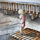 Young Girl Fishing Off Dock Ink and Watercolor Painting by DianePalmerArt
