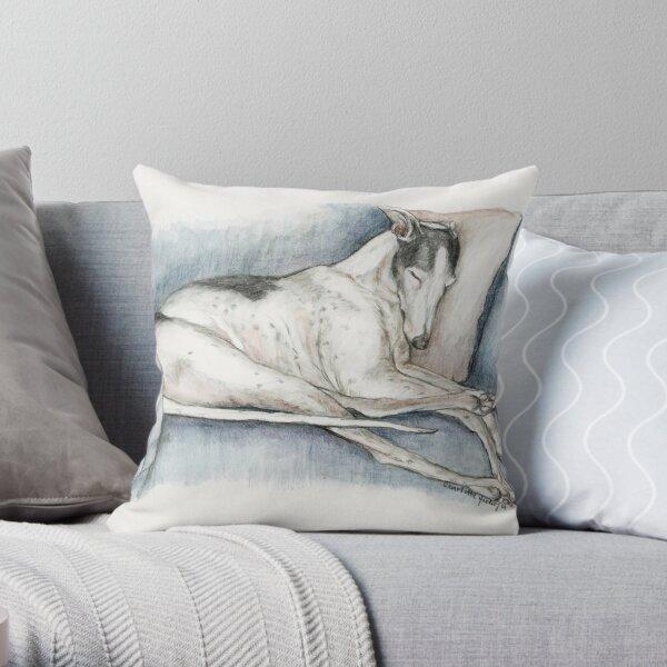Sleeping Greyhound Throw Pillow