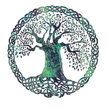 CELTIC KNOTS TREE OF LIFE - swamp midnight by butterflyscream